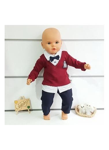 By Bebek Odam Armalı Papyonlu Yazlık Erkek Bebek Takım Bordo